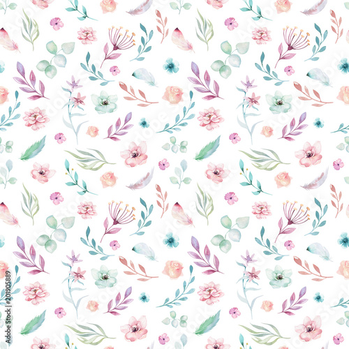 Cute watercolor unicorn seamless pattern with flowers