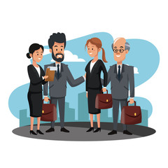 Business people teamwork at city vector illustration graphic design