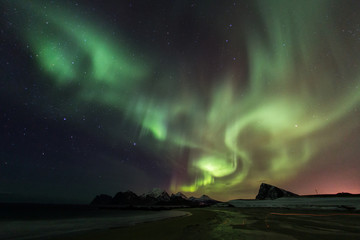 Amazin landscape of northen lights in background at Lofoten, Norway
