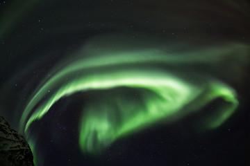Amazin landscape of northen lights in background at Lofoten, Norway
