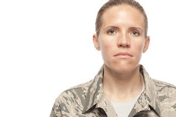 Serious female airman
