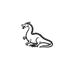 Dragon hand drawn outline doodle icon. Fairytale animal - dragon vector sketch illustration for print, web, mobile and infographics isolated on white background.