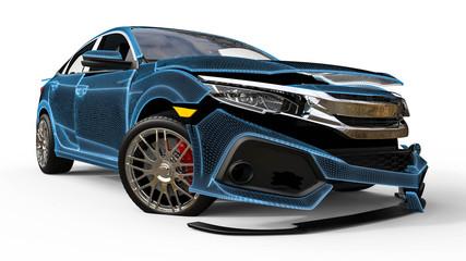 car crash / 3D render image representing an car with visible damage