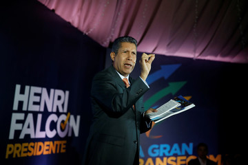 "Venezuelan presidential candidate Henri Falcon of the ""Avanzada Progresista"" party speaks during the presentation of his government plan at a meeting with supporters in Caracas"