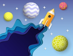 Rocket flying into space vector paper art design