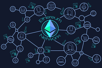 Ethereum Network Blockchain Conceptual Illustration