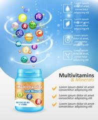 Multivitamin complex ad vector design template