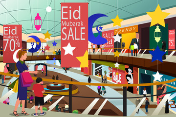 Muslim People Shopping During Ramadan Eid-Al-Fitr Sale Illustration