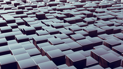 Metal boxes array as abstract 3d background