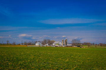 Typical Amish farm in Lancaster county in Pennsylvania USA without electricity