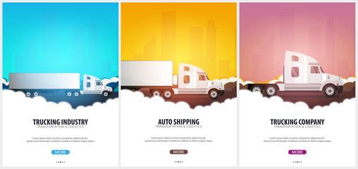 Set of Trucking Industry posters, Logistic and delivery. Semi truck. Vector Illustration