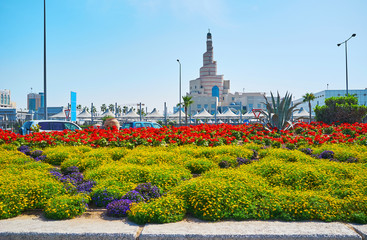 The flower beds in Doha, Qatar