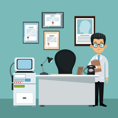 Doctor at office cartoon vector illustration graphic design