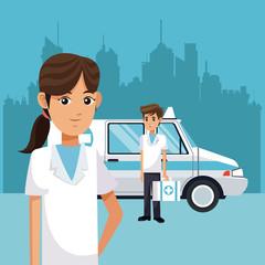 Paramedics with ambulance at city vector illustration graphic design