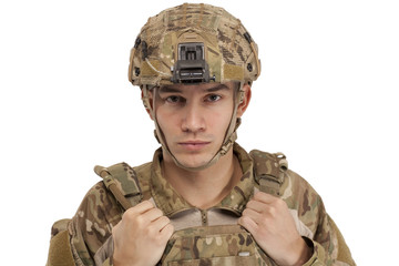 Soldier wearing protective workwear