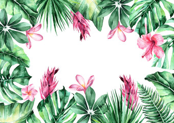 watercolor illustration of tropical leaves. frame of tropical leaves. invitation to the wedding