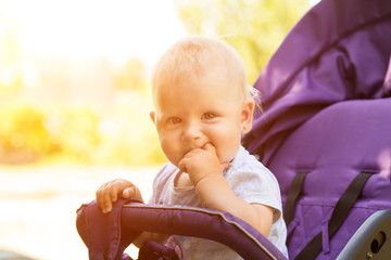 A small child is sitting in a stroller. walk with the child in the open air, in sunny weather