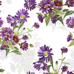 Bouquet from red flowers.Watercolor  seamless   pattern.