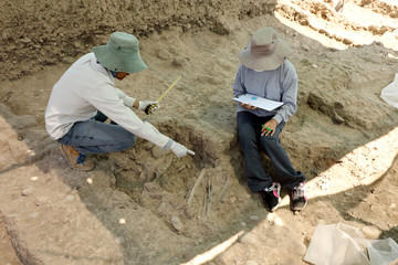 Archaeologists work at the Maranga Archaeological Complex, in Lima