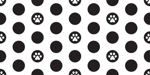 Dog Paw Seamless Pattern vector Cat Paw polka dot cartoon wallpaper tile background illustration