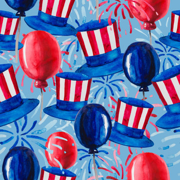 Politics of the USA and Presidents' Day, Washington's Birthday and Independence Day - depicted in one pattern. Hat of Uncle Sam, flags and fireworks, all in the national colors of America.