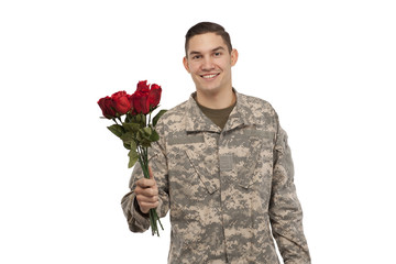 Smiling Soldier with rose bouquet