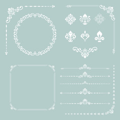 Vintage set of horizontal, square and round elements. Different elements for decoration design, frames, cards, menus, backgrounds and monograms. Classic patterns. Set of vintage patterns