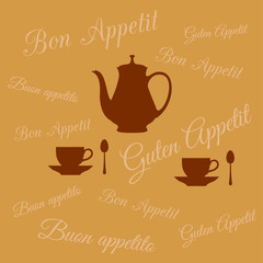 Coffee pot and two cups on background of inscription Bon appetit
