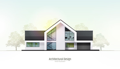 Modern house, villa, cottage, townhouse with shadows, with realistic trees. Architectural visualization. Trendy color three story cottage with white facade, brown roof. Realistic vector illustration.