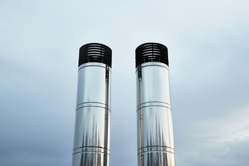 Two Industrial Chimneys