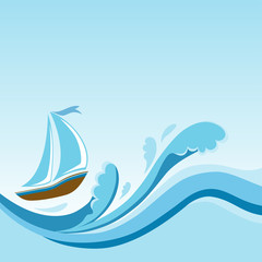 Sailboat on sea waves