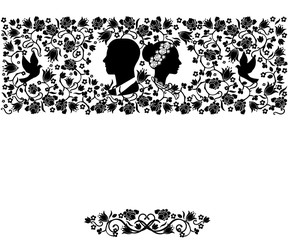 wedding silhouette flourishes seamless pattern background
