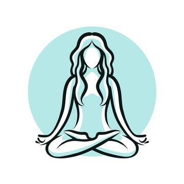 Yoga, beauty salon, spa logo or label or label. Girl sitting in lotus pose. Vector illustration
