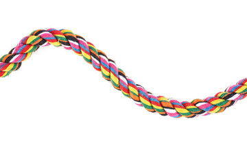 Colored cotton rope isolated on a white background