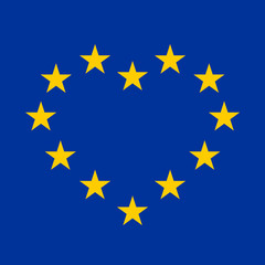 EU flag with yellow stars in a shape of heart on blue background. Vector illustration.