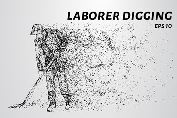 The laborer digging consists of particles. A laborer digging work. Vector illustration