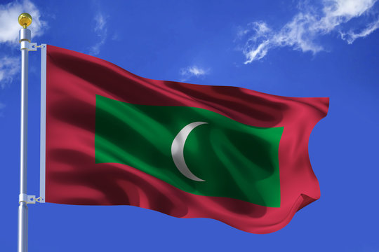 The silk waving flag of Maldives with a flagpole on a blue sky background with clouds .3D illustration.
