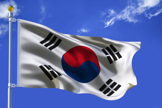 The silk waving flag of South Korea with a flagpole on a blue sky background with clouds .3D illustration.