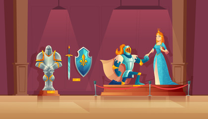 Vector museum concept, medieval exhibition. Armored knight with helmet, princess in blue silk dress, statue of warrior, ancient shield. Field trip in history, excursion in presentation hall, showroom