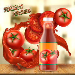 Vector promotion banner with realistic glass bottle of ketchup, with splashes of red sauce, with tomatoes and slices on background. Jar with paste or natural tomato juice. Mockup for brand advertising