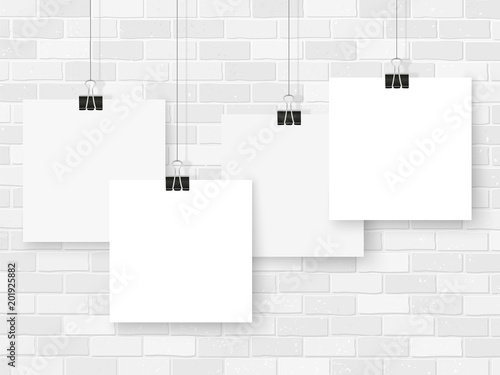 posters on binder clips white notepad paper templates business