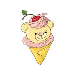 Cute teddy bear ice cream cone cartoon boy and girl white background illustration.