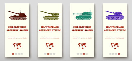 Self-propelled artillery systems leaflet cover presentation abstract, layout size fold set technology annual report brochure flyer design template vector