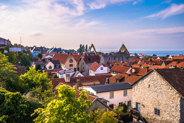 Visby - September 23, 2018: Panoramic view of the old town of Visby in Gotland, Sweden