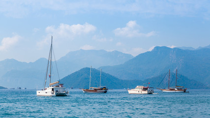 Yachts anchored in the bay of Marmaris, Turkey