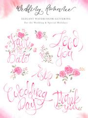 Weddimg lettering calligraphy set with elegant pink design.