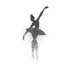 Ballet dancer girl particle splash silhouette