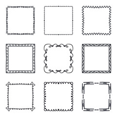 Set of hand drawn decorative square frames and borders. Mono line design templates, isolated on white