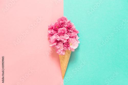 Cherry tree blossom in ice cream waffle cone pink flowers stock cherry tree blossom in ice cream waffle cone pink flowers mightylinksfo