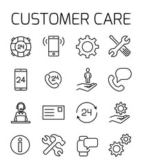 Customer care related vector icon set.